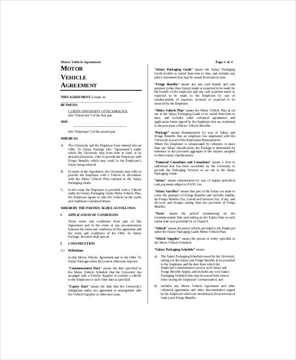 Vehicle Lease Agreement Template 7 Vehicle Lease Templates Docs Word