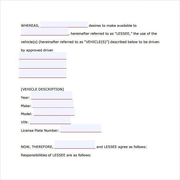Vehicle Lease Agreement Template 8 Car Lease Agreement Templates Word Pdf Pages