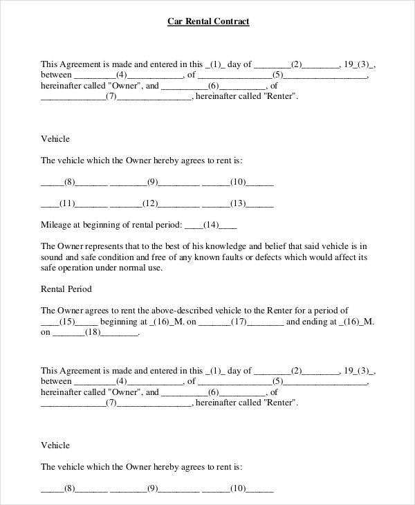 Vehicle Lease Agreement Template Car Rental Agreement 12 Free Word Pdf Documents