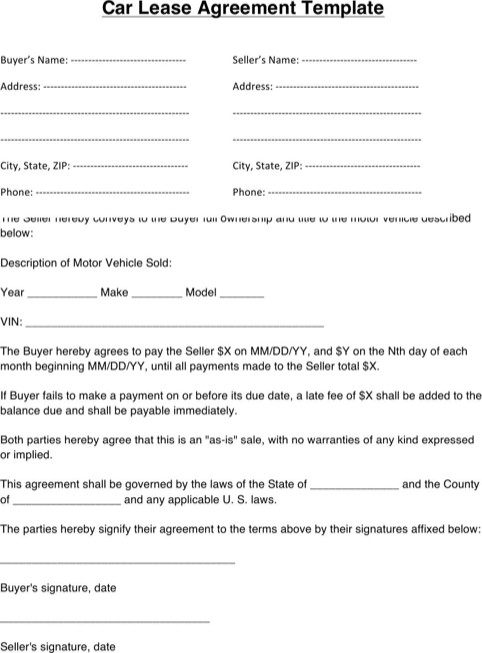 Vehicle Lease Agreement Template Download Vehicle Lease Agreement for Free formtemplate