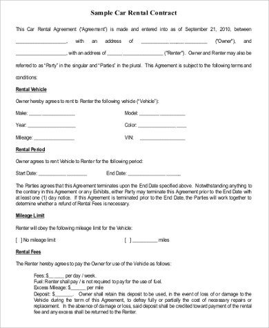 Vehicle Lease Agreement Template Free Sample Rental Agreement form 9 Examples In Word Pdf