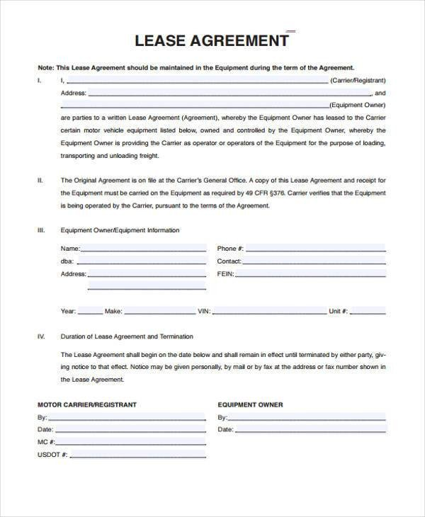 Vehicle Lease Agreement Template Sample Truck Lease Agreements 9 Free Documents In Word Pdf