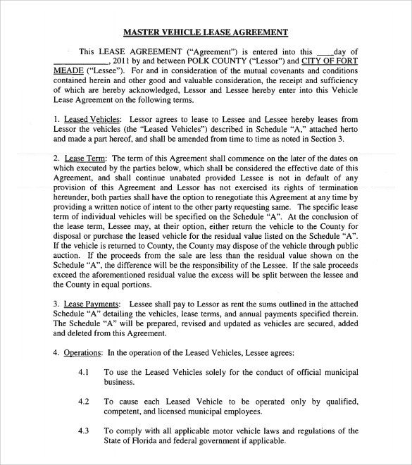 Vehicle Lease Agreement Template Sample Vehicle Lease Agreement Template 14 Free