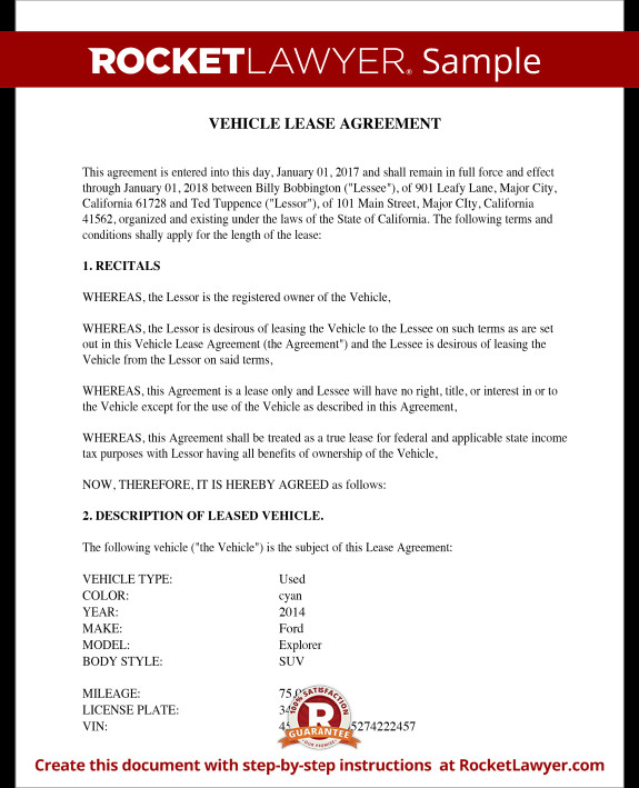 Vehicle Lease Agreement Template Vehicle Lease Agreement Sample Lease for Cars and Trucks