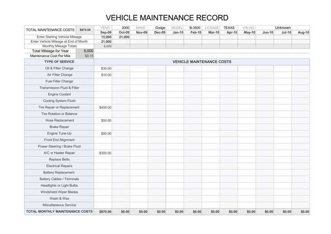 Vehicle Maintenance Log Excel Printable Vehicle Maintenance Log Templates