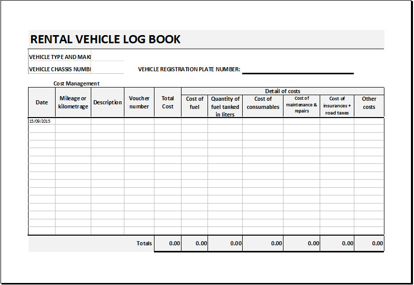 Vehicle Maintenance Log Excel Rental Vehicle Log Book Template for Excel