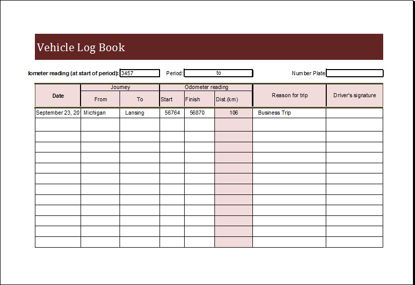 Vehicle Maintenance Log Excel Vehicle Log Book Template for Ms Excel