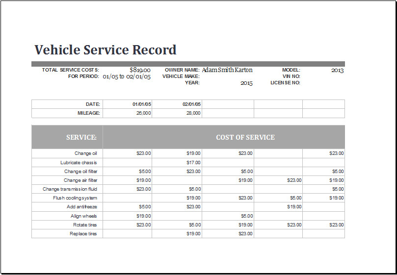 Vehicle Maintenance Log Excel Vehicle Maintenance Log