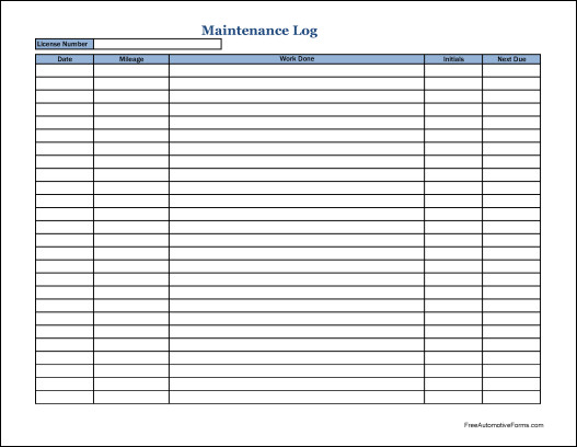 Vehicle Maintenance Log Excel Vehicle Maintenance Log Pdf