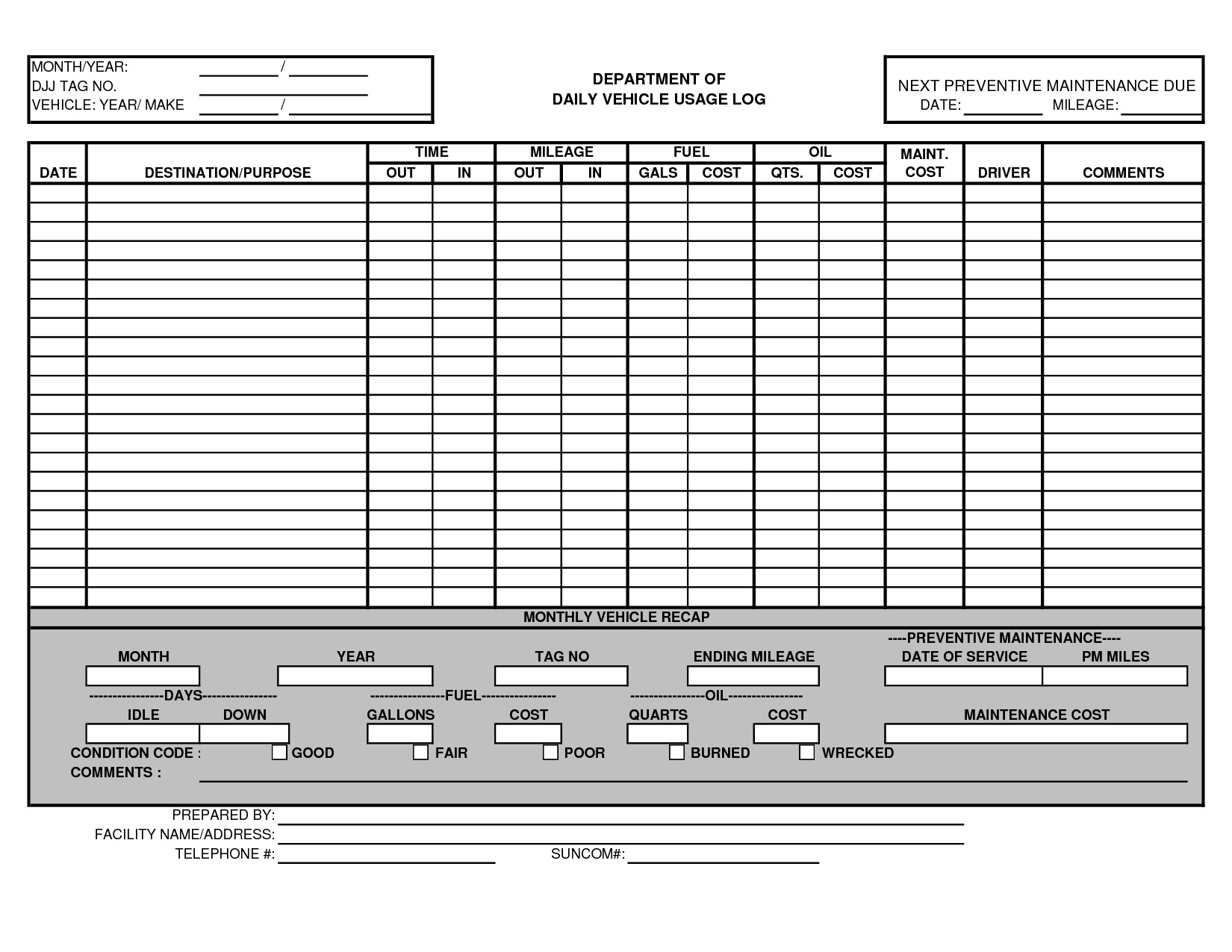 Vehicle Maintenance Log Excel Vehicle Maintenance Log Template Excel Ewolf