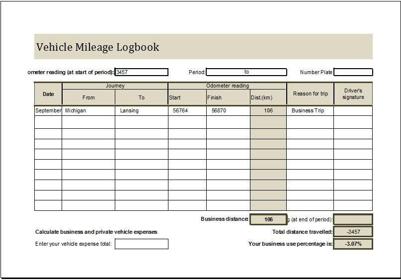 Vehicle Maintenance Log Excel Vehicle Mileage Log Book Ms Excel Editable Template