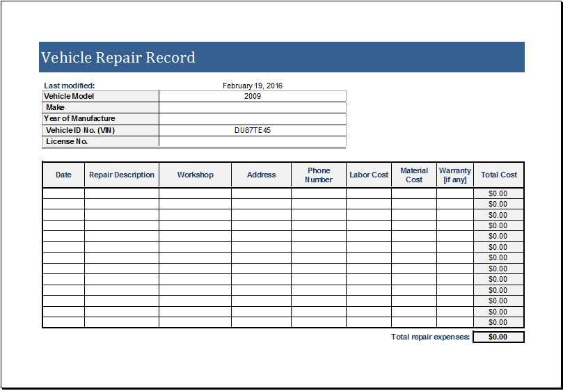 Vehicle Maintenance Log Excel Vehicle Repair Log Template for Ms Excel