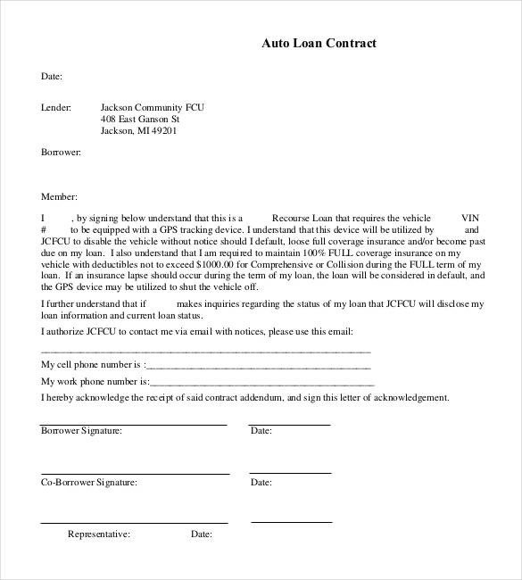 Vehicle Payment Contract Template 27 Loan Contract Templates – Word Google Docs Apple