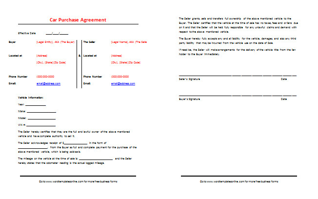Vehicle Payment Contract Template Car Purchase Agreement Template Best Samples