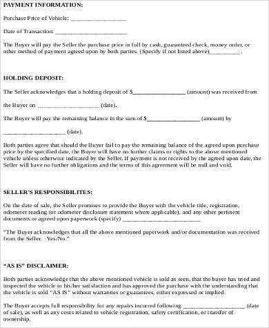 Vehicle Payment Contract Template Car Sale Contract Sample 10 Examples In Word Pdf