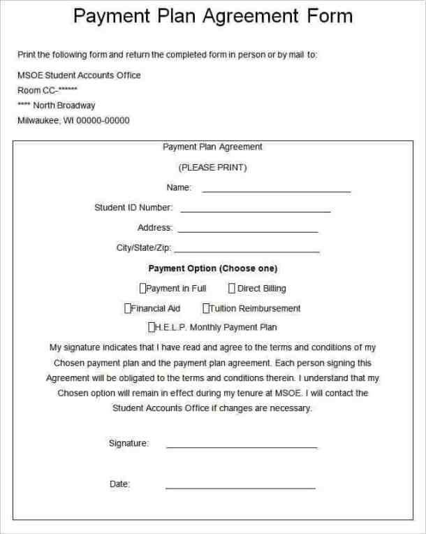 Vehicle Payment Contract Template Payment Plan Agreement Templates Word Excel Samples