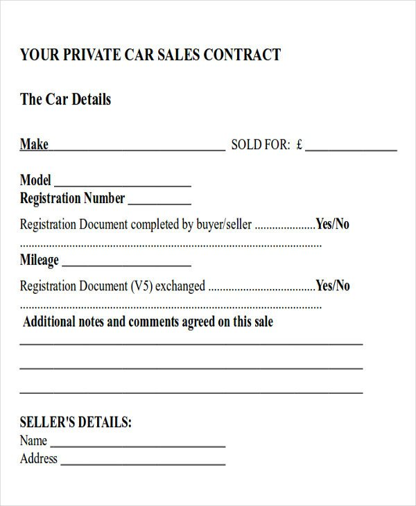 Vehicle Payment Contract Template Sample Car Sales Contract 12 Examples In Word Pdf