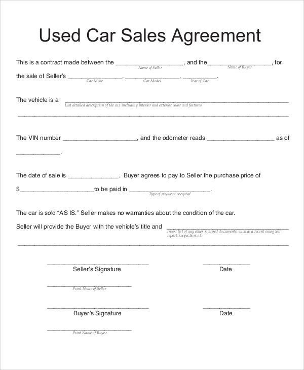 Vehicle Payment Contract Template Sample Vehicle Sales Contract 11 Examples In Word Pdf