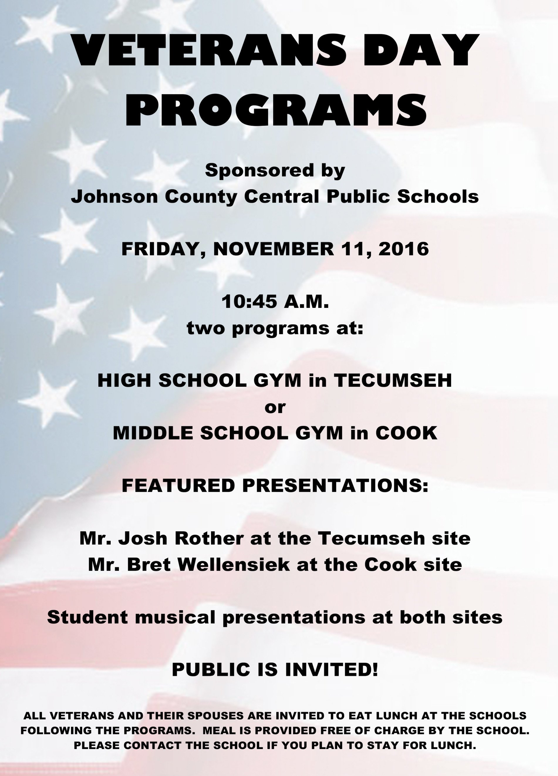 Veterans Day Program Template Johnson County Central Veterans Day Programs