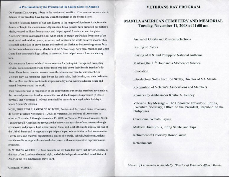 Veterans Day Program Template May 3 Anniversary Tucker Maywood Bataan Day organization