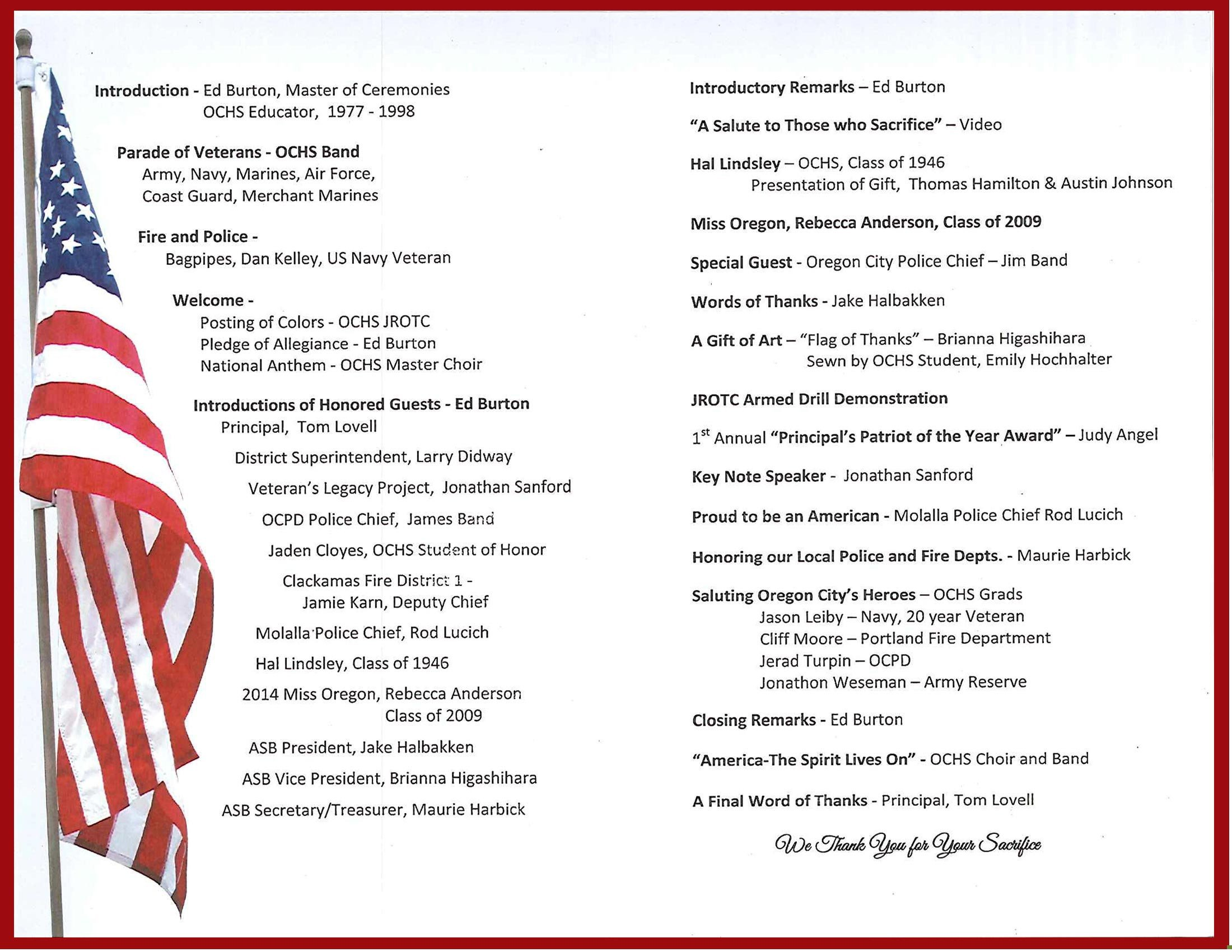 Veterans Day Program Template Veterans assembly 2014 Recap