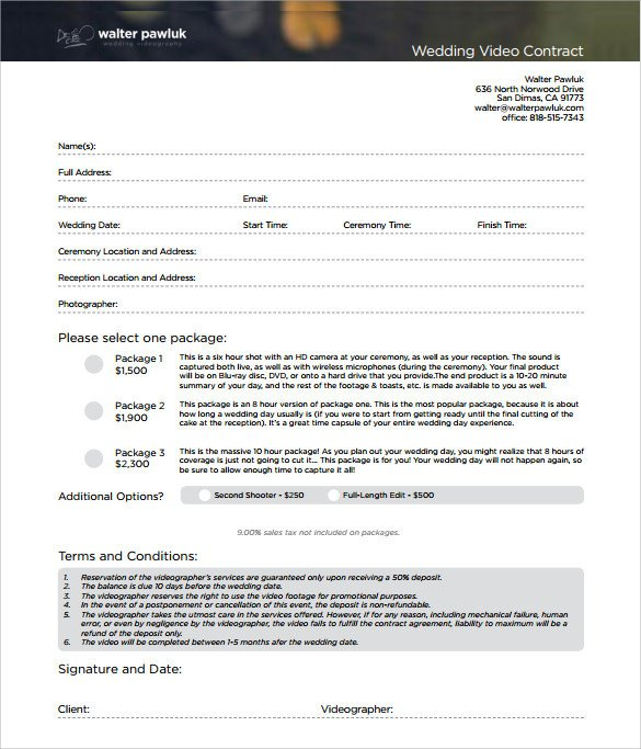 Videography Contract Template Free Videography Contract Template 10 Download Free