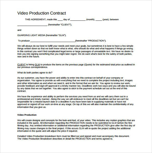 Videography Contract Template Free Videography Contract Template 9 Download Documents In