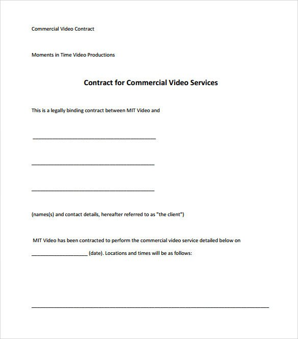 Videography Contract Template Free Videography Contract Template 9 Download Free Documents