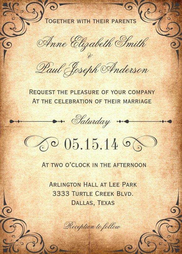 Vintage Wedding Invitation Templates 28 Wedding Invitation Wording Templates – Free Sample