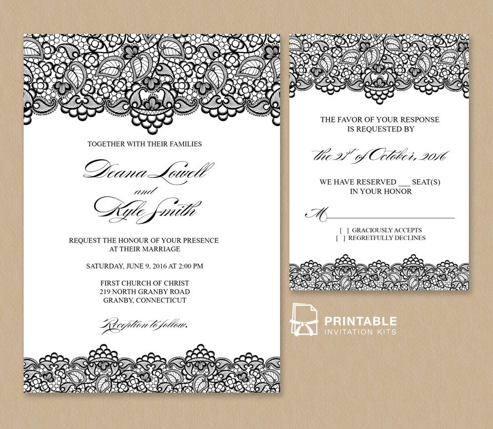 Vintage Wedding Invitation Templates Black Lace Vintage Wedding Invitation and Rsvp ← Wedding