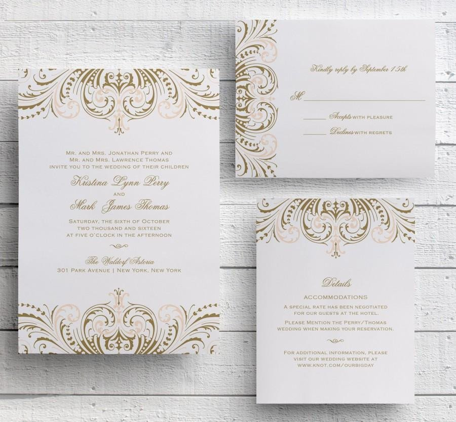 Vintage Wedding Invitation Templates Blush Pink and Gold Invitations Diy Wedding Invitation