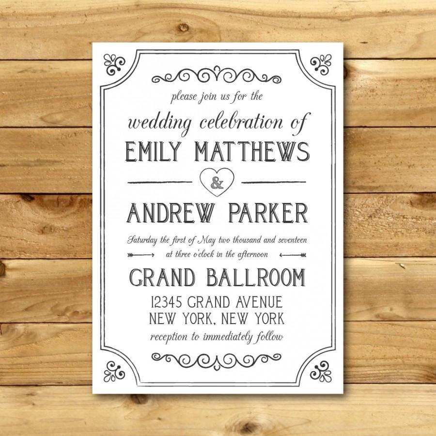 Vintage Wedding Invitation Templates Printable Vintage Style Wedding Invitation Template Dark