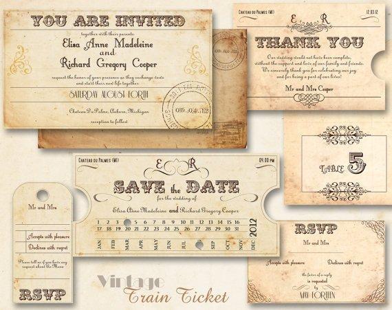 Vintage Wedding Invitation Templates Printable Vintage Wedding Invitations From Abandig On Etsy