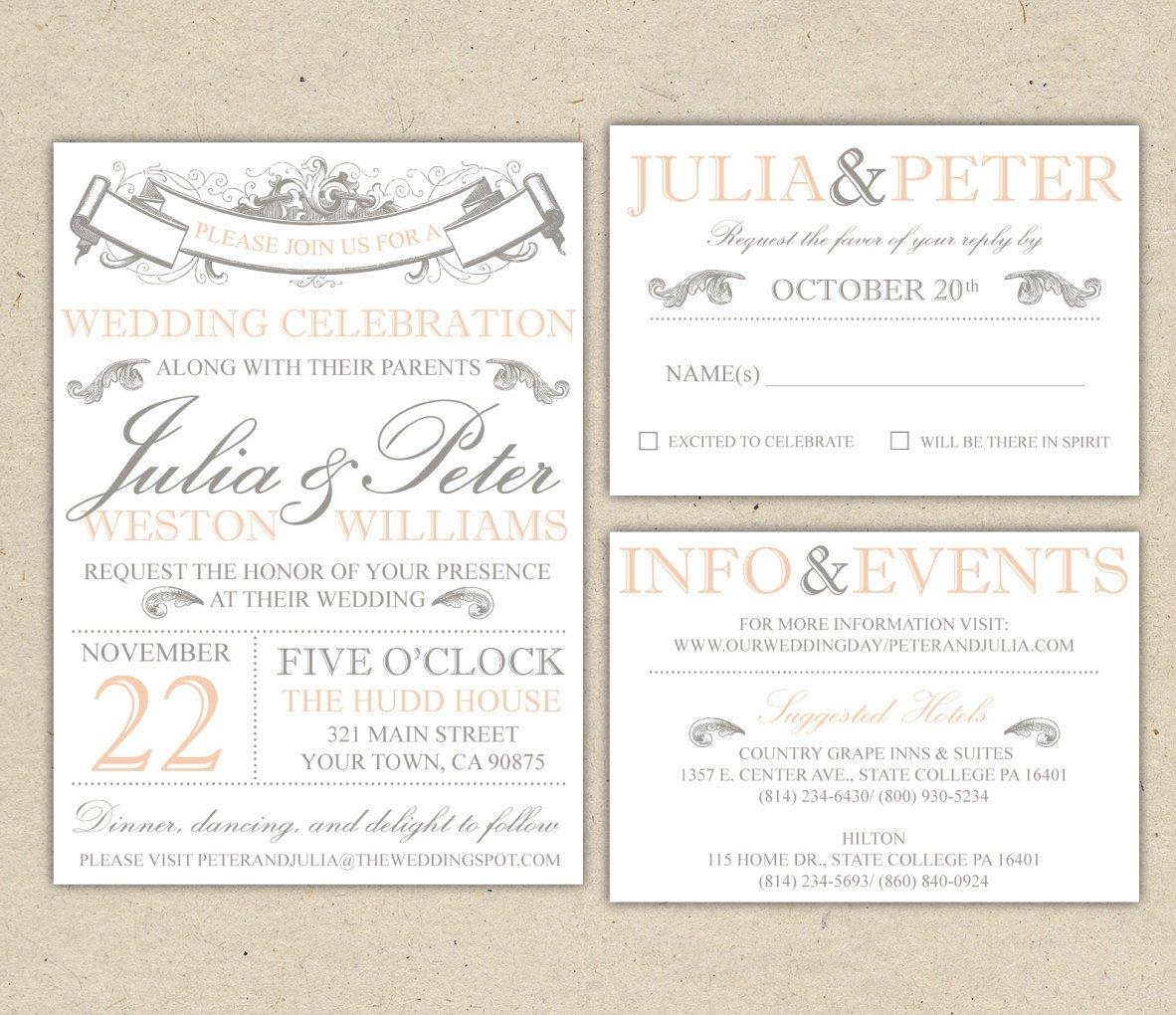 Vintage Wedding Invitation Templates Vintage Modern Wedding Invitation Prints Custom by
