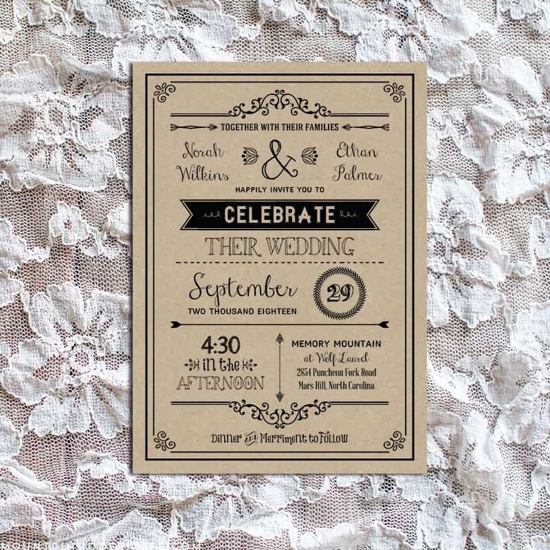 Vintage Wedding Invitation Templates Vintage Rustic Diy Wedding Invitation Template