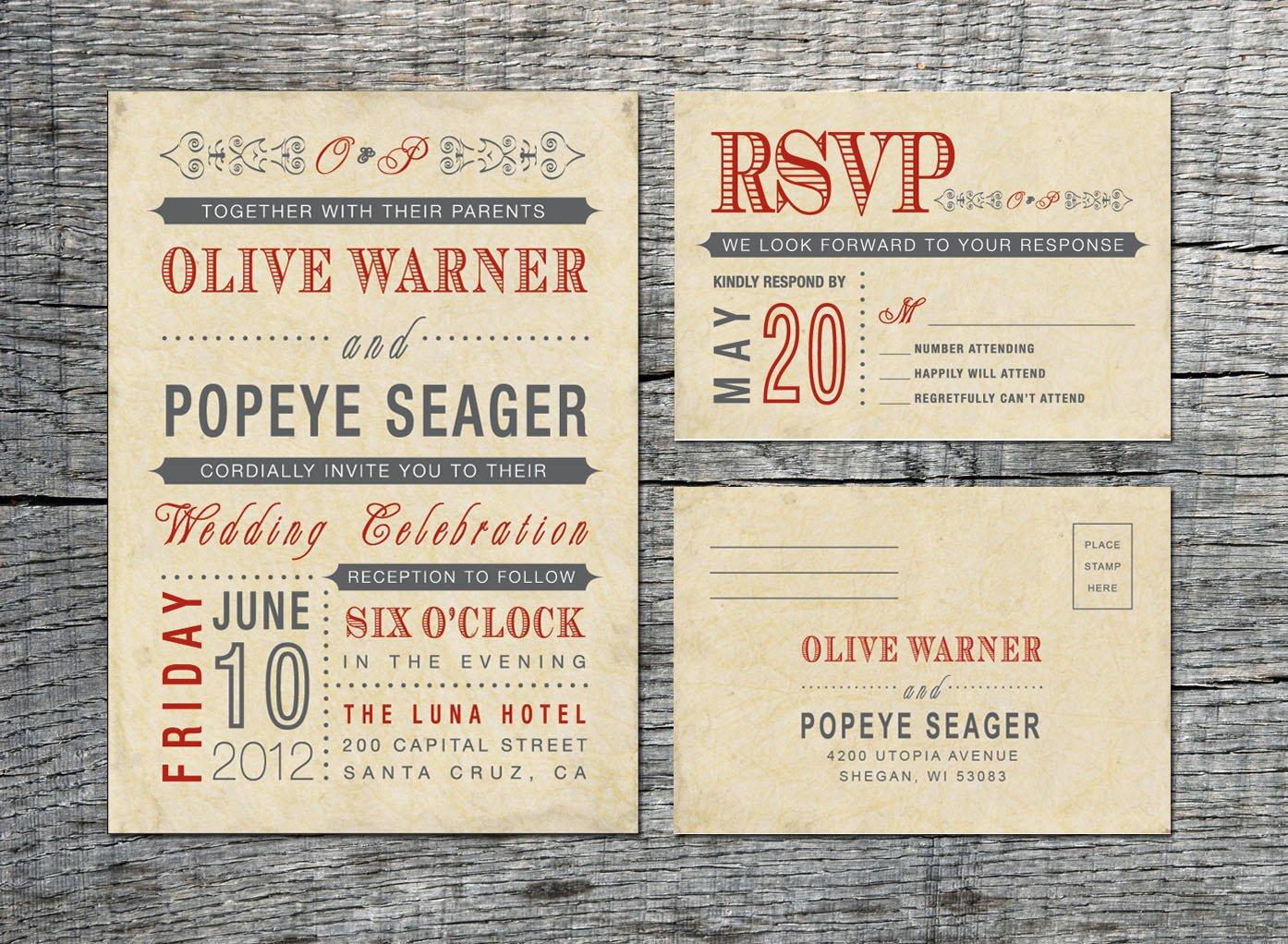 Vintage Wedding Invitation Templates Vintage Wedding Invitation & Rsvp Card Old Fashioned Style