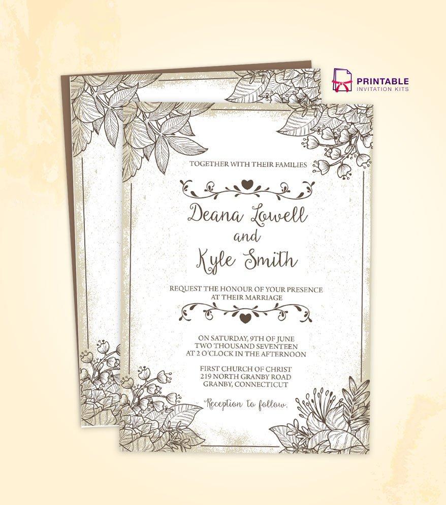 Vintage Wedding Invitation Templates Vintage Wedding Invitation Template 2018 ← Wedding