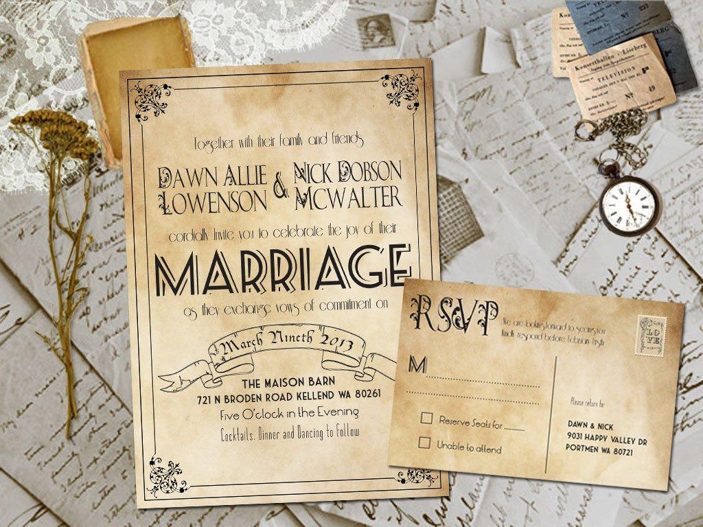 Vintage Wedding Invitation Templates Wedding Invite and Rsvp Marvelle Vintage Rustic Personalized