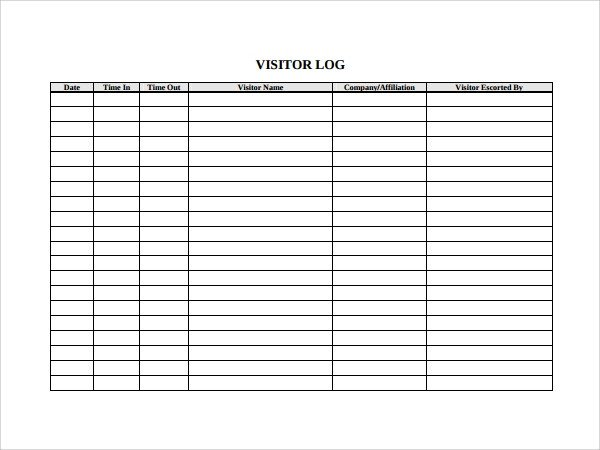 Visitor Log Template Excel 9 Visitors Log Templates Pdf Word