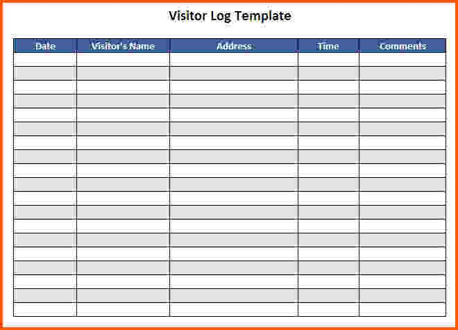 Visitor Log Template Excel Visitor Log Template