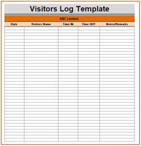 Visitor Log Template Excel Visitor Log Templates 2 Ms Word & Excel