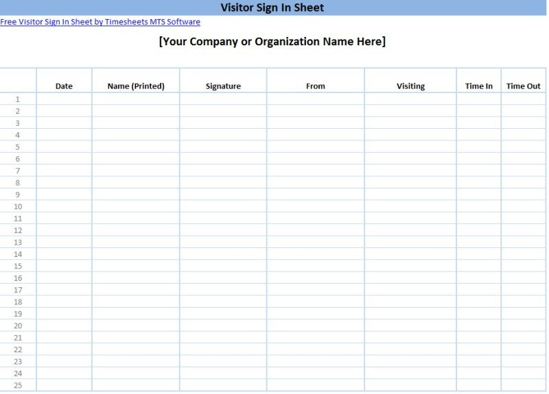 Visitor Sign In Sheet Printable Sign In Sheet Templates