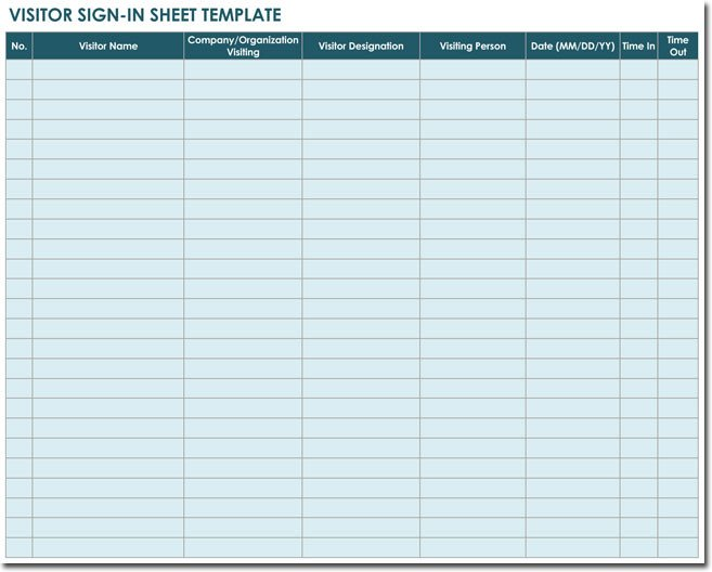 Visitor Sign In Sheet Template 20 Sign In Sheet Templates for Visitors Employees Class