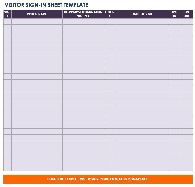 Visitor Sign In Sheet Template Free Sign In and Sign Up Sheet Templates