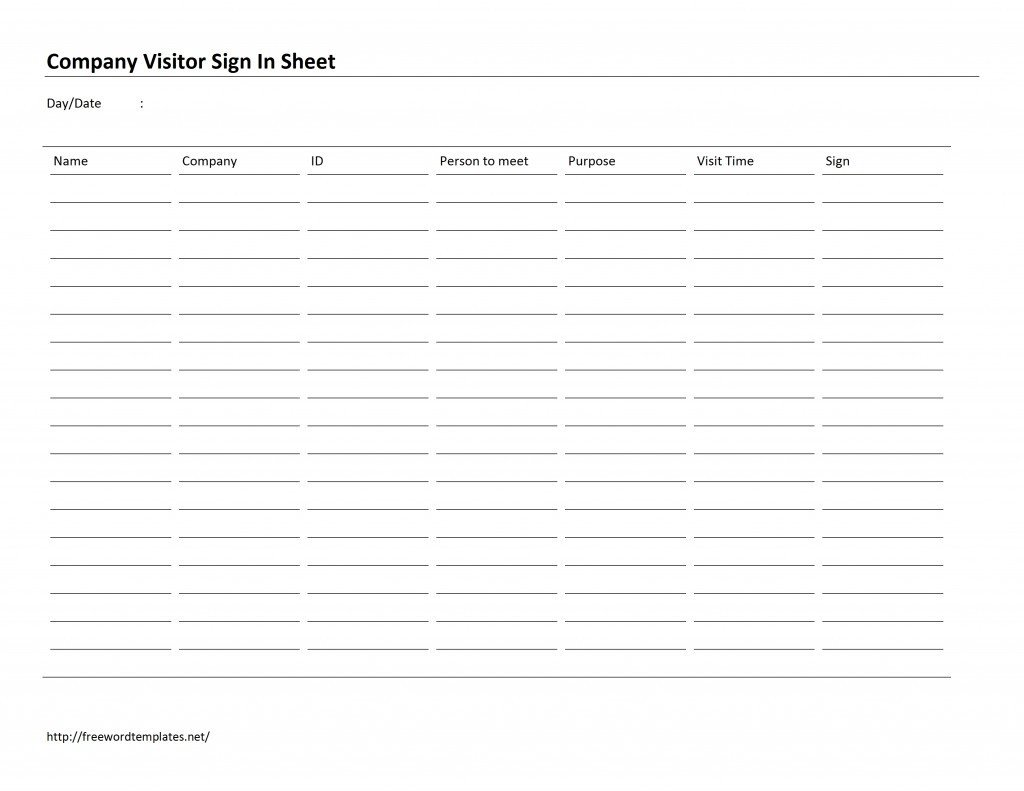 Visitor Sign In Sheet Template Pany Visitor Sign In Sheet Template Free Microsoft
