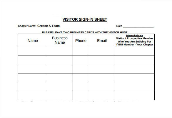 Visitor Sign In Sheets Sample Visitor Sign In Sheet 10 Documents In Word Pdf