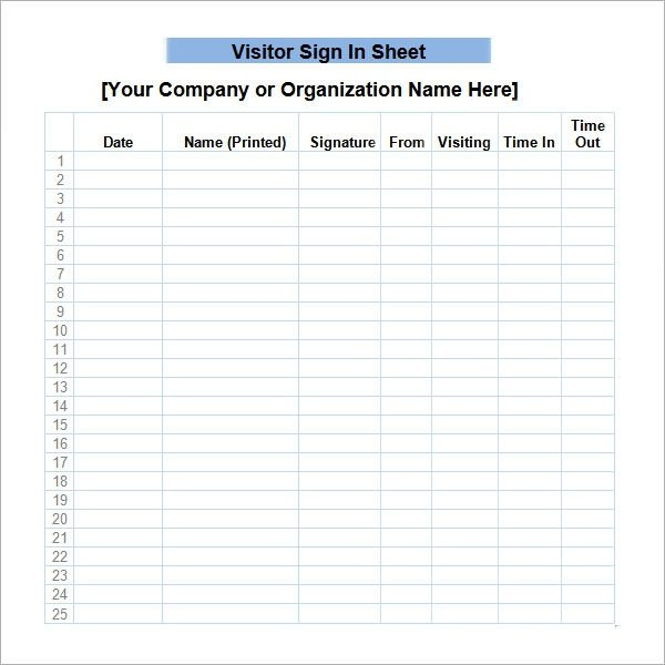 Visitors Signing In Sheet 34 Sample Sign In Sheet Templates Pdf Word Apple Pages