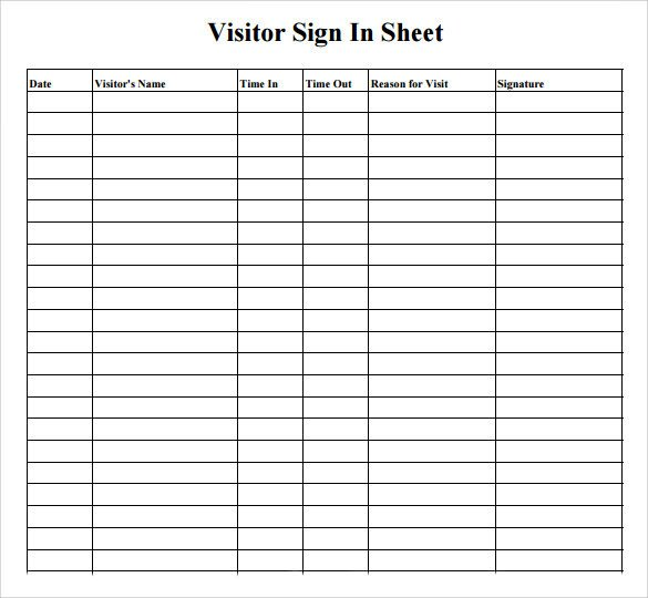 Visitors Signing In Sheet Sample Visitor Sign In Sheet 10 Documents In Word Pdf