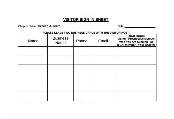 Visitors Signing In Sheet Visitor Sign In Sheet Template Template