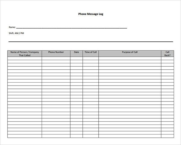 Voicemail Log Template 10 Sample Phone Message Templates – Pdf Word Excel